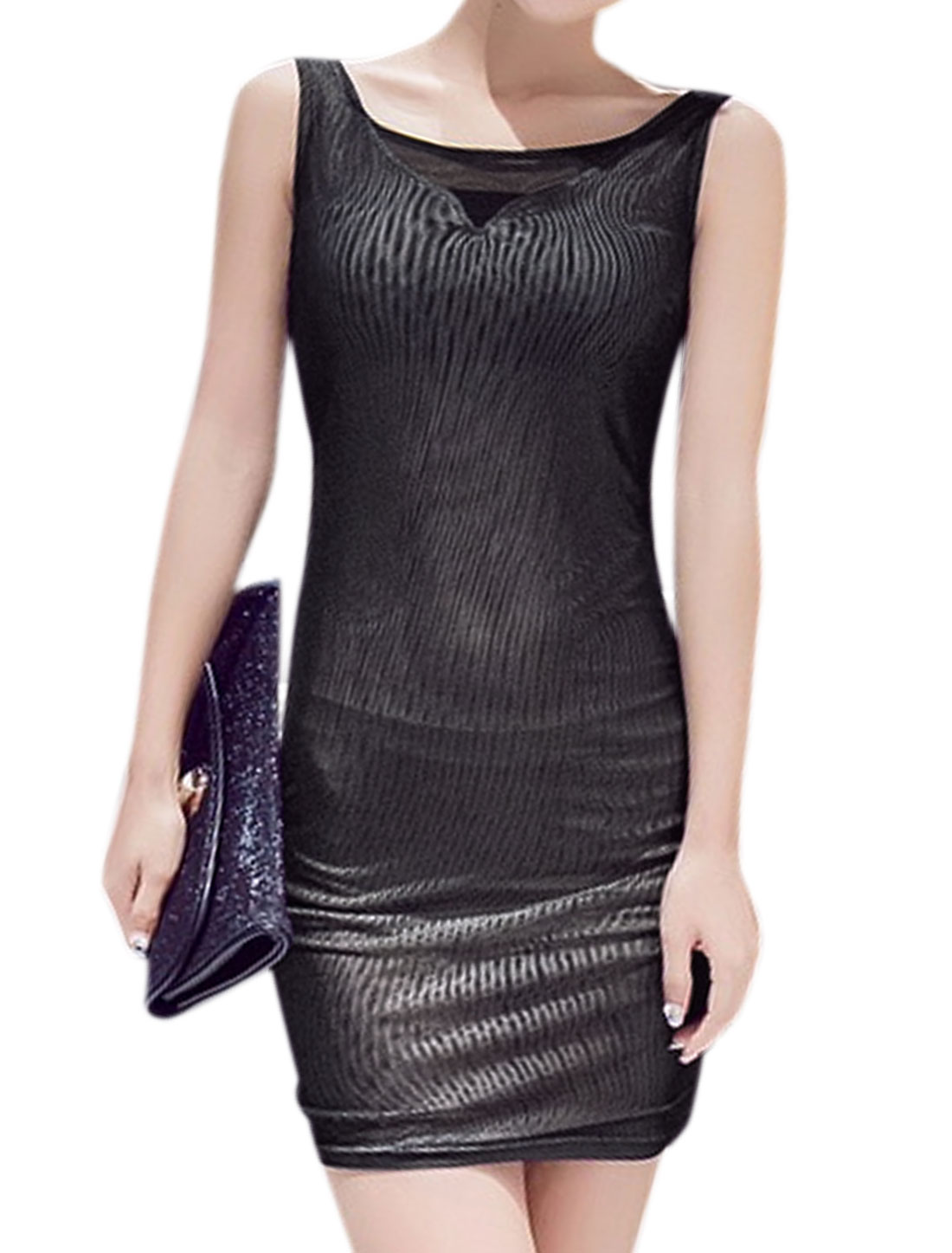 Women Scoop Neck Sleeveless Stretchy Mini Mesh Wiggle Dress Black XS