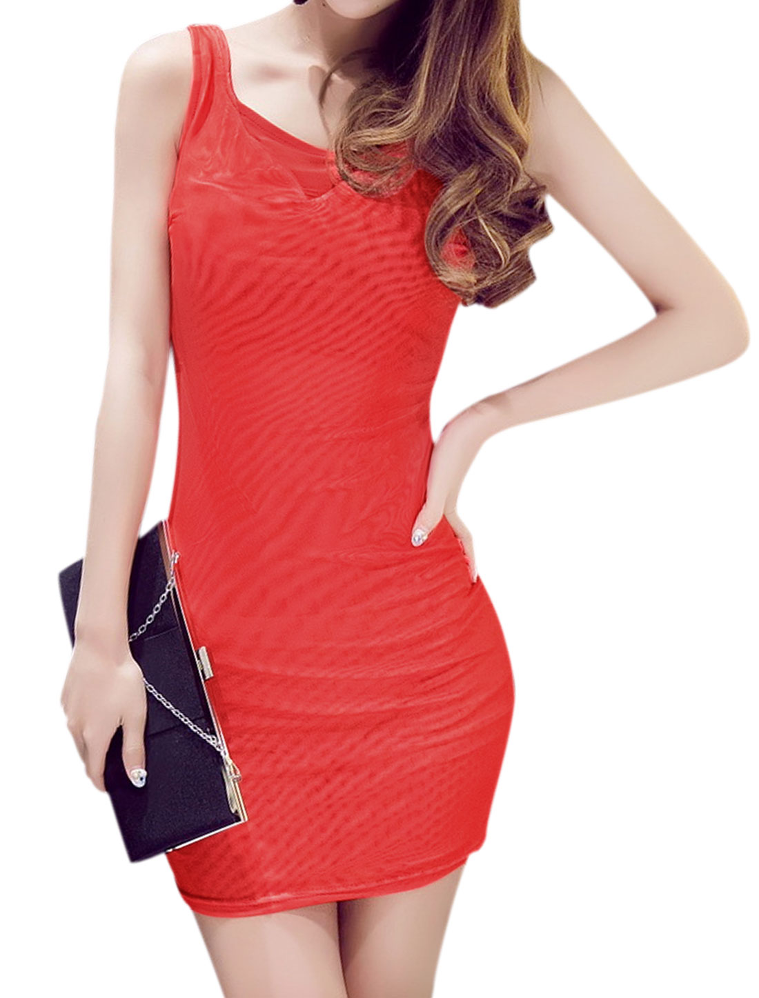 Ladies Scoop Neck Mesh Mini Bodycon Dress Red XS