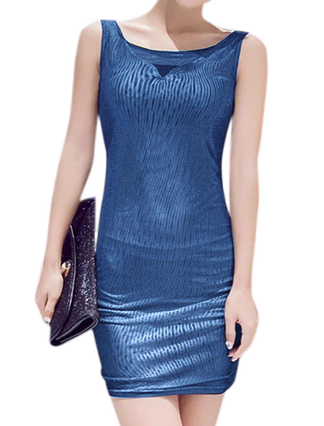 Women Sleeveless Stretchy Mesh Mini Wrap Dress Blue XS