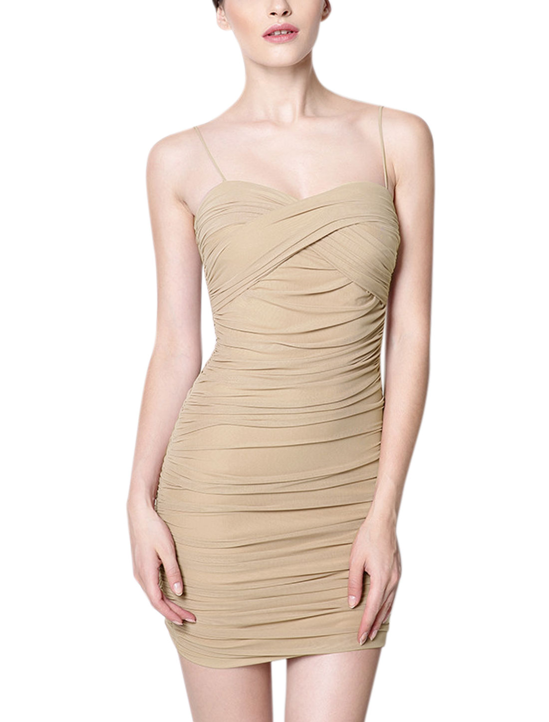 Ladies Sweetheart Neckline Fully Lined Casual Bodycon Dress Beige S