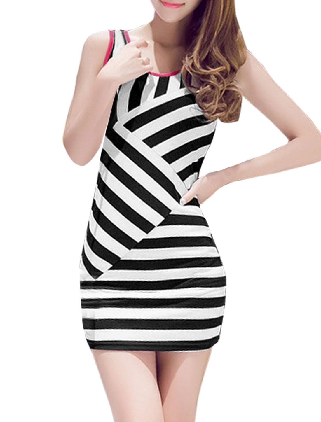 Women Scoop Neck Sleeveless Stripes Slim Fit Wiggle Dress Fuchsia Black XS