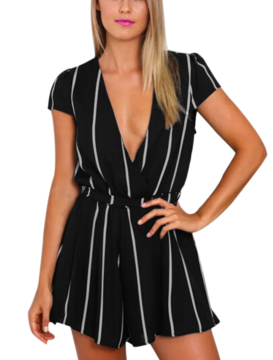 Ladies Cap Sleeve Belted Leisure Stripes Chiffon Playsuit Black M