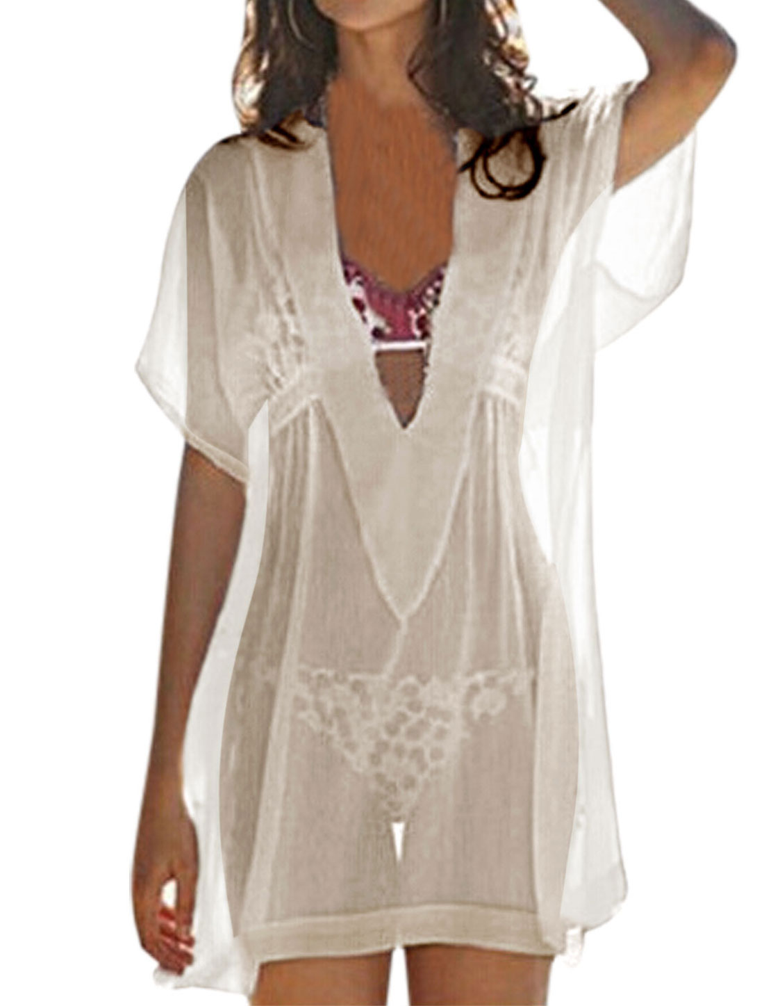 Women Deep V Neck Sleeves Semi Sheer Cover-Up Tunic Top White XS