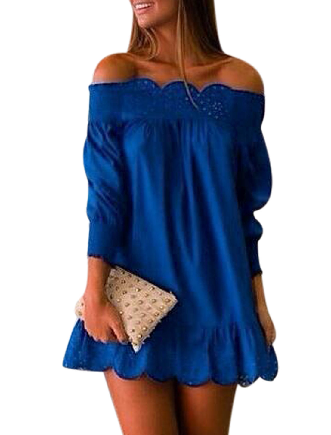 Women Off Shoulder Smock Neckline w Cuffs Hollow Out Tunic Dress Blue M