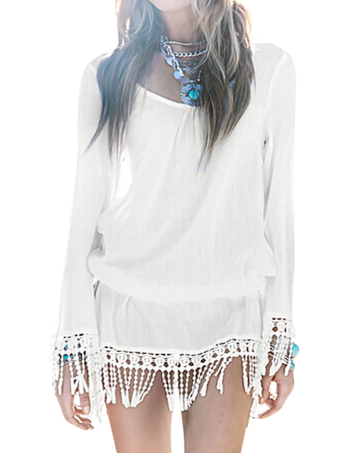 Woman Crochet Design Fringed Elastic Waist Beachwear Cover-Up White XS