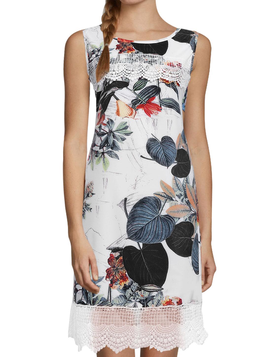 Women Sleeveless Floral Prints Panel Design Casual Dress White S