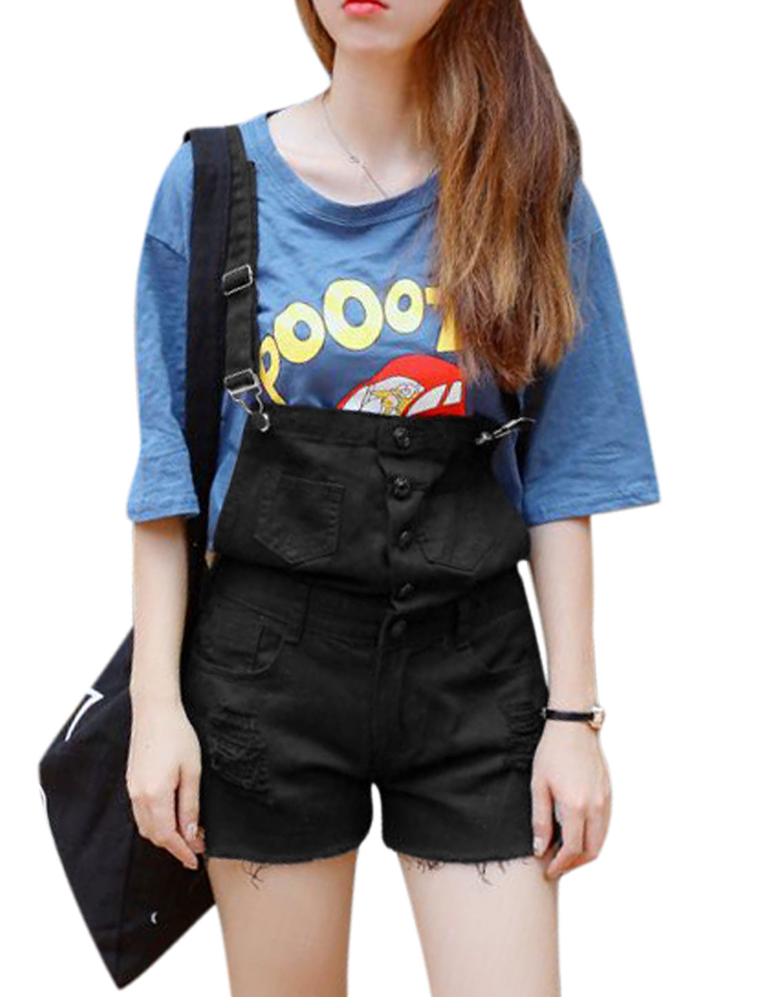 Women Single Breasted Destroyed Design Denim Suspender Shorts M