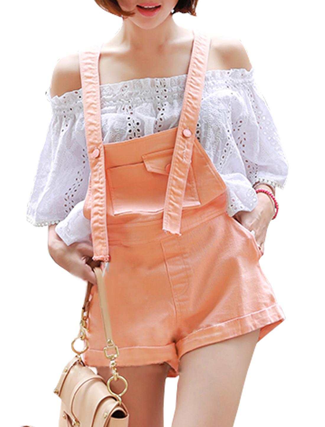 Woman Adjustable Buckled Straps Side Pockets Suspender Shorts Light Coral M
