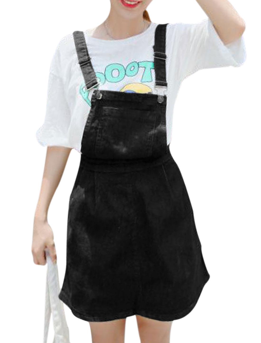 Women One Pocket Front A Line Denim Suspender Skirt Black M