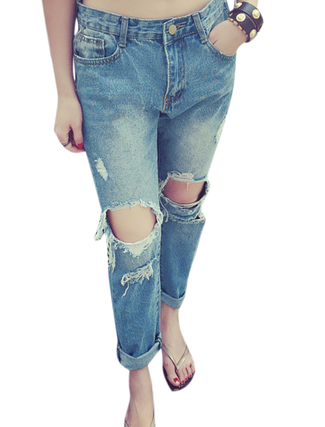 Women Mid-Rise Zip Fly Twp Slant Pockets Destroyed Tapered Jeans Light Blue XS