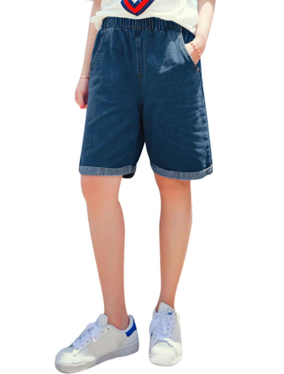 Women Elastic Waist Straight Knee Length Denim Shorts Blue M