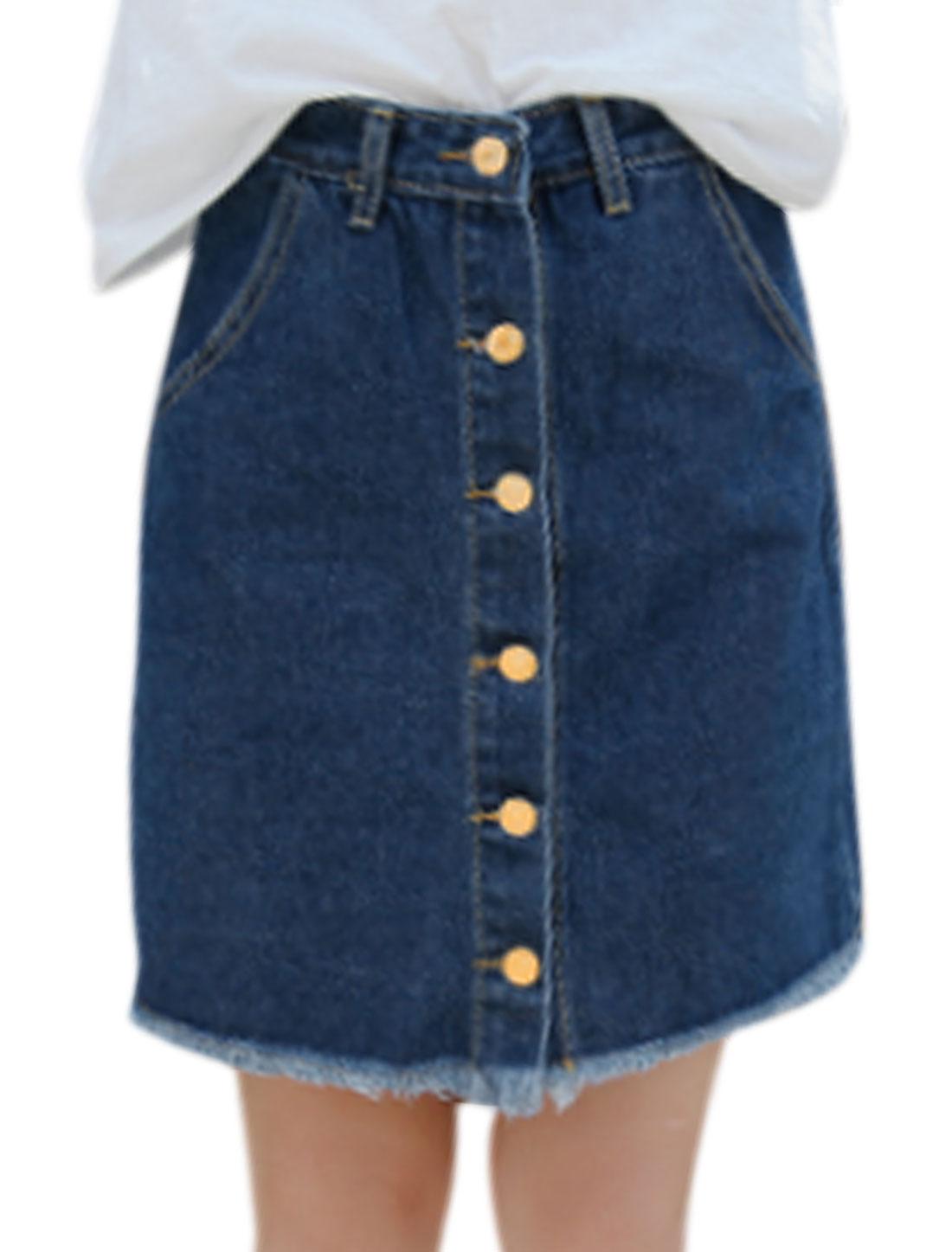 Women High Waist Single Breasted Front Denim Skirts Navy Blue M