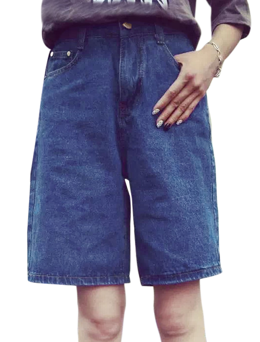 Women Zip Fly Straight Mid Rise Casual Denim Carpenter Shorts Blue S