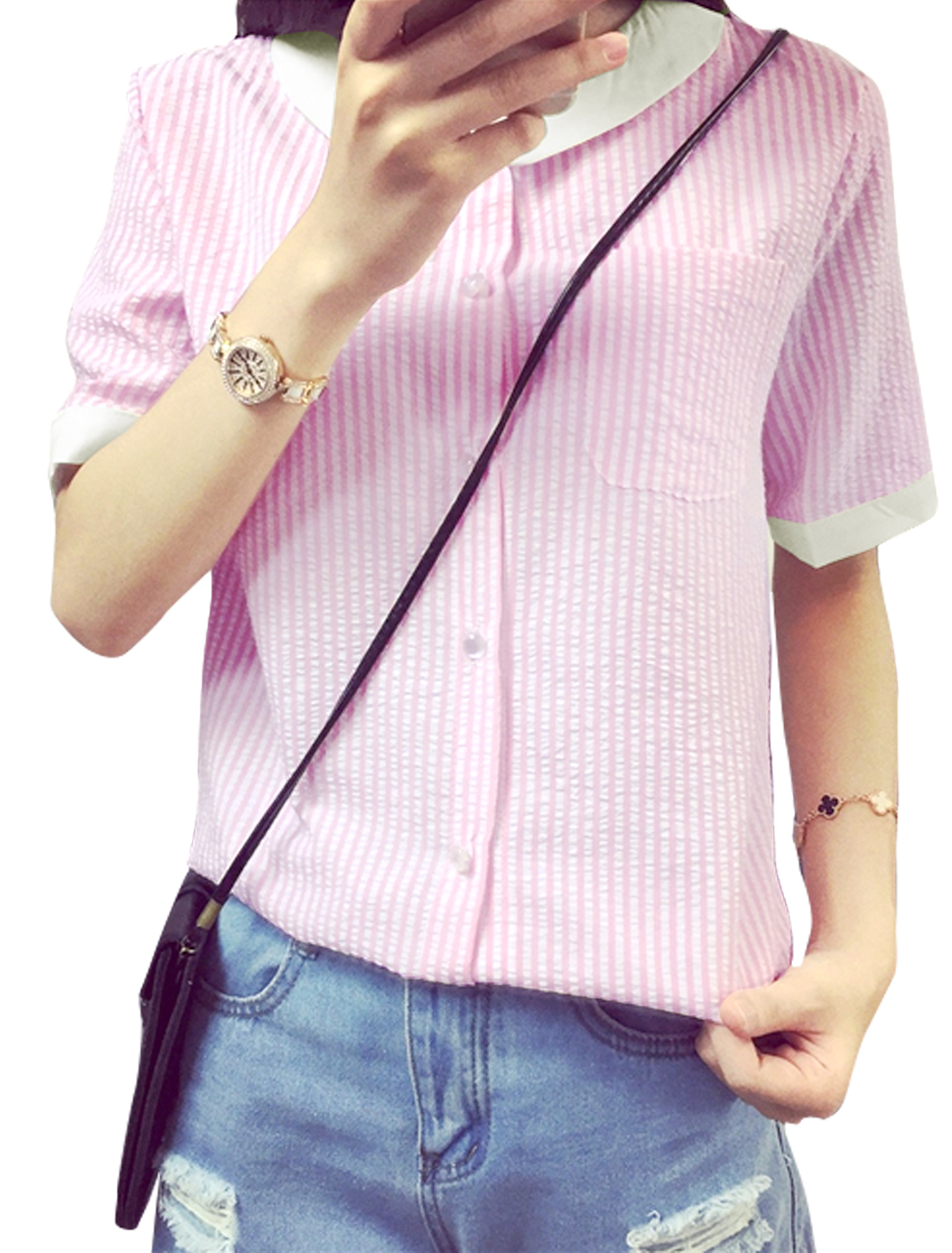 Women Short Sleeves Single Breasted Stripes Casual Shirts Pink XS