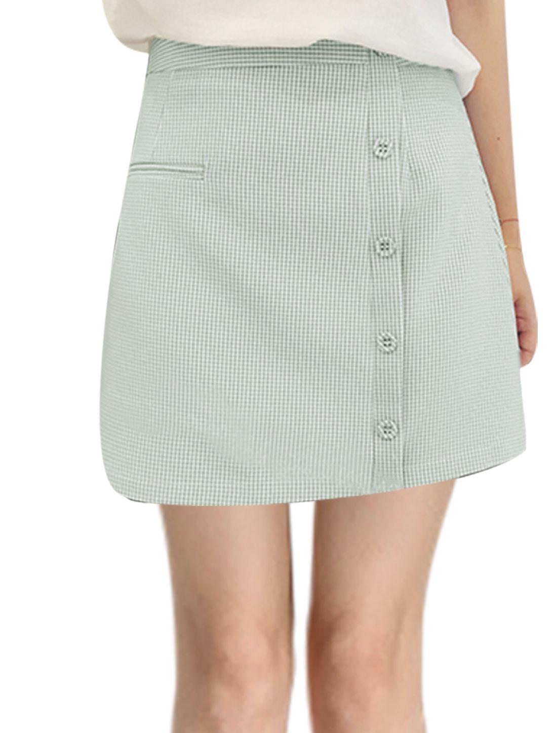 Women High Waist Plaids Pattern A-Line Skirt Light Gray M
