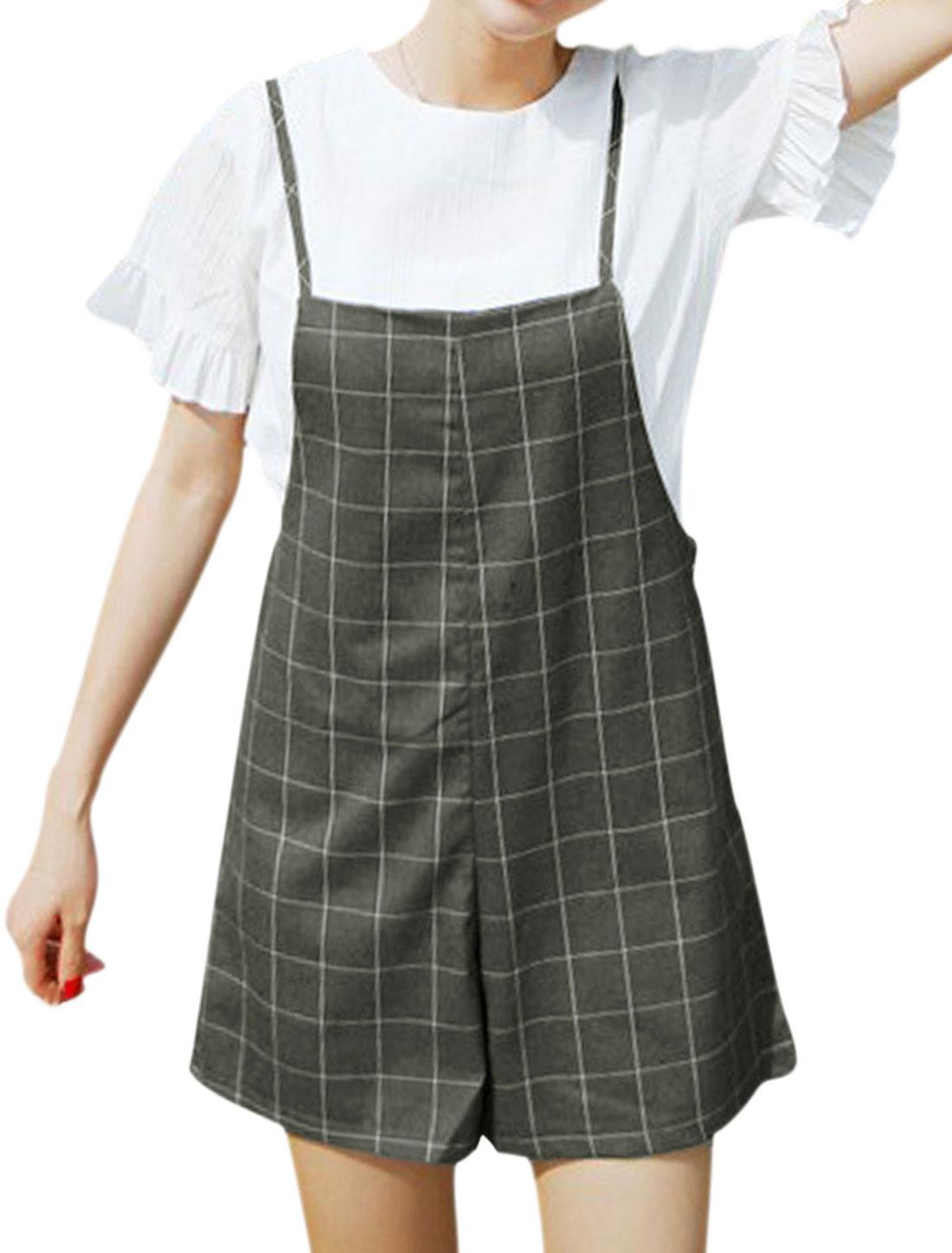Women Plaids Straight Casual Suspender Shorts Dark Gray S