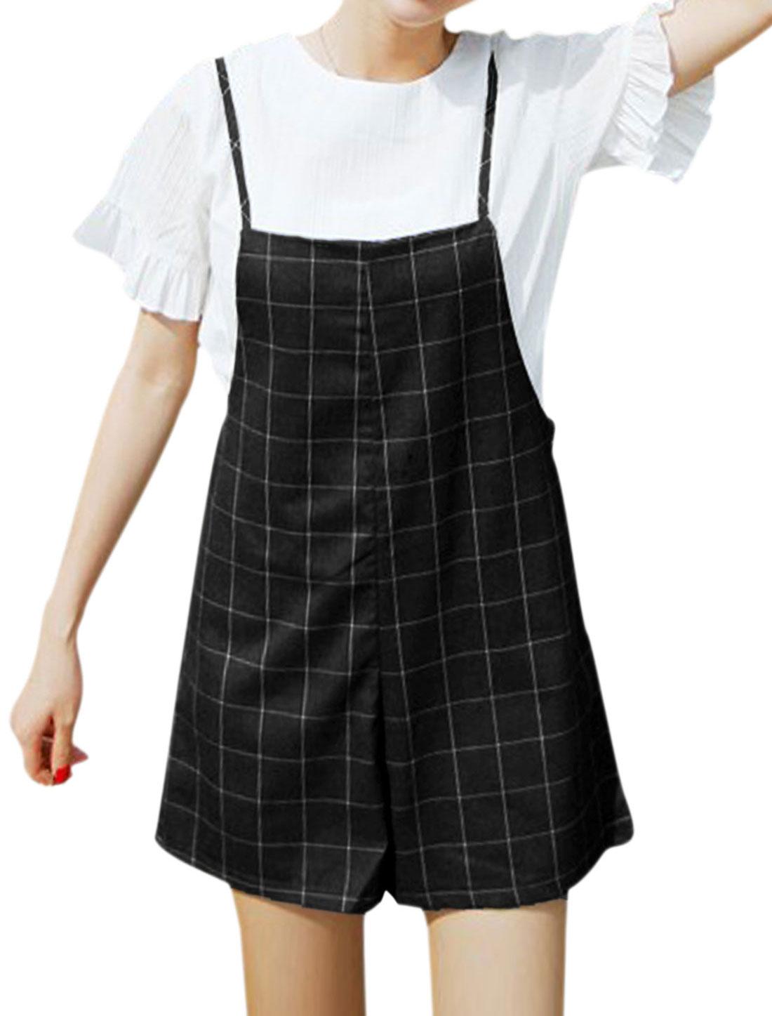 Women Spaghetti Straps Leisure Plaids Suspender Shorts Black S
