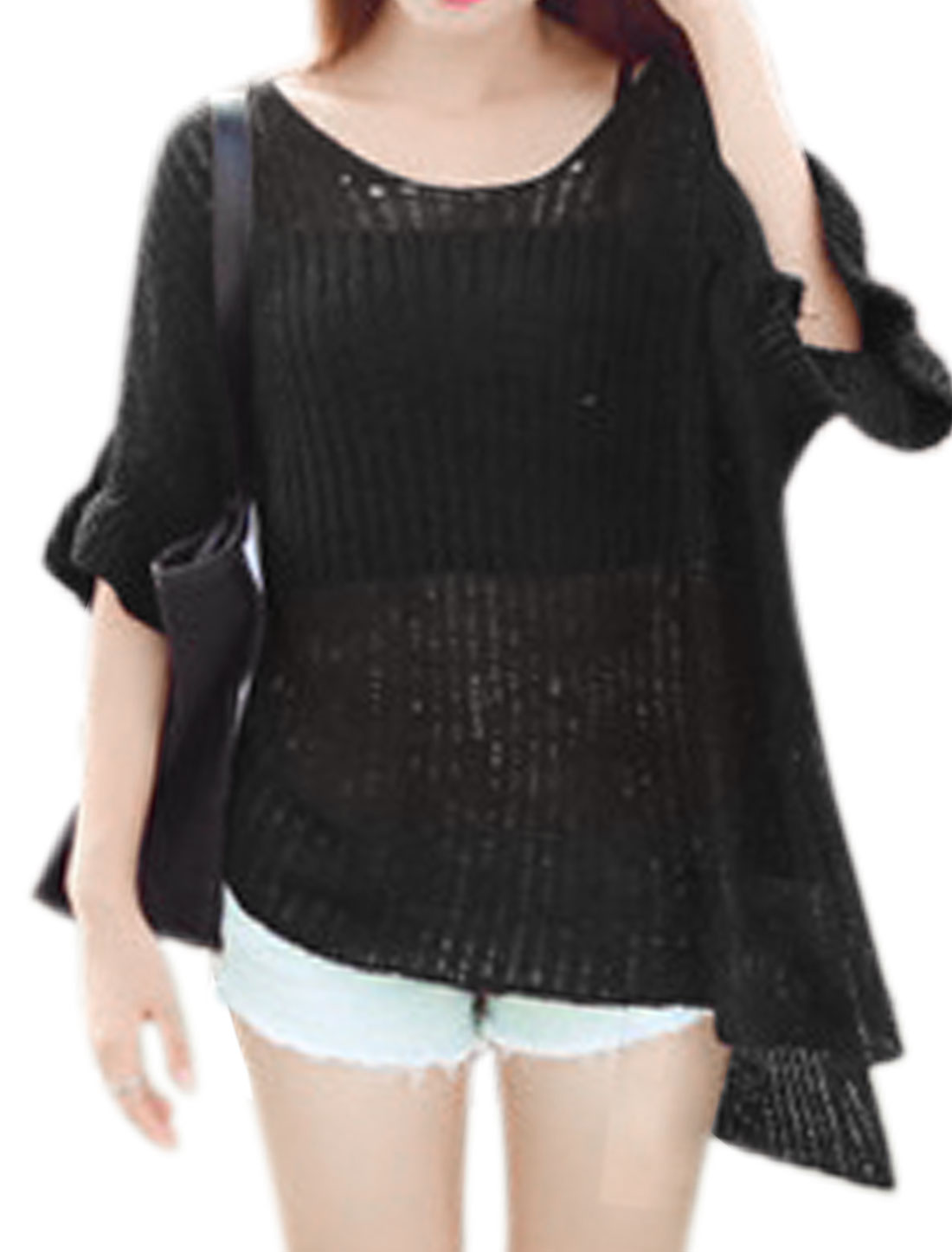 Woman High Low Hem 3/4 Batwing Sleeves Loose Pullovers Knit Top Black XS