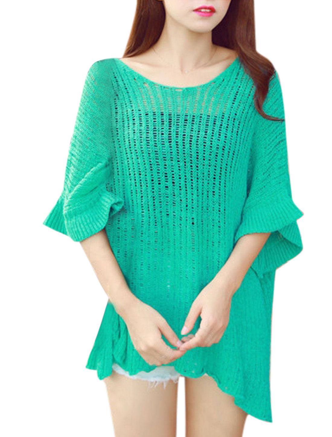 Woman High Low Hem Split Sides Loose Tunic Pullovers Knit Top Green XS