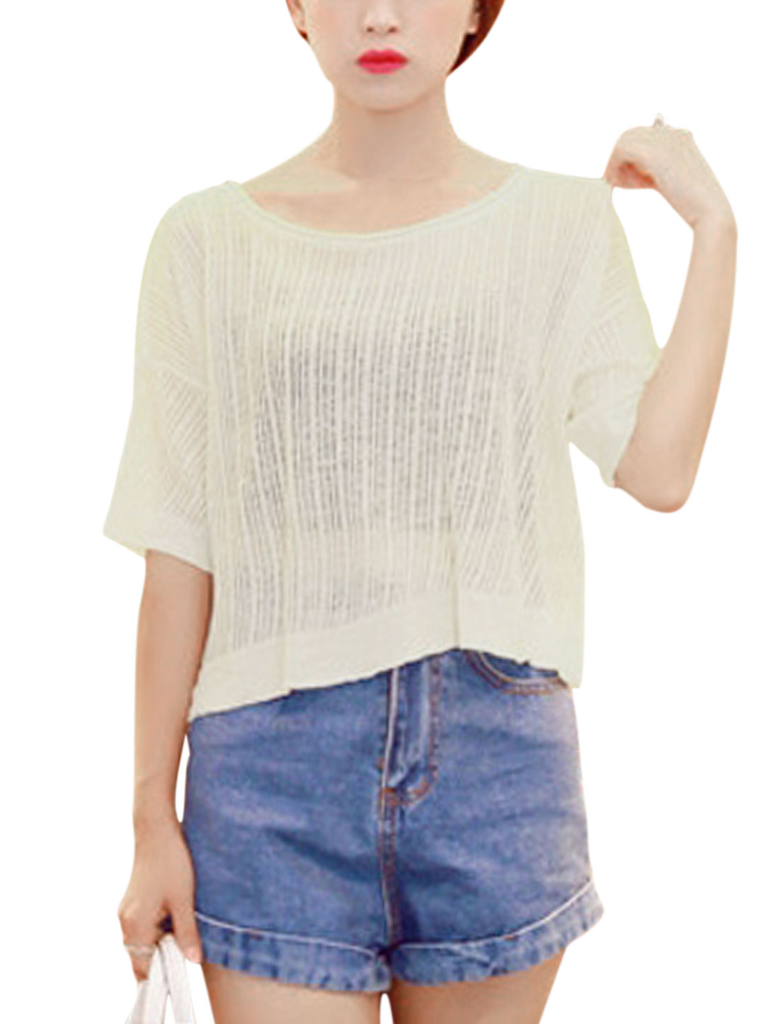 Ladies Pullover Elbow Sleeve Round Neck Loose Fit Casual Knit Shirt Off White XS