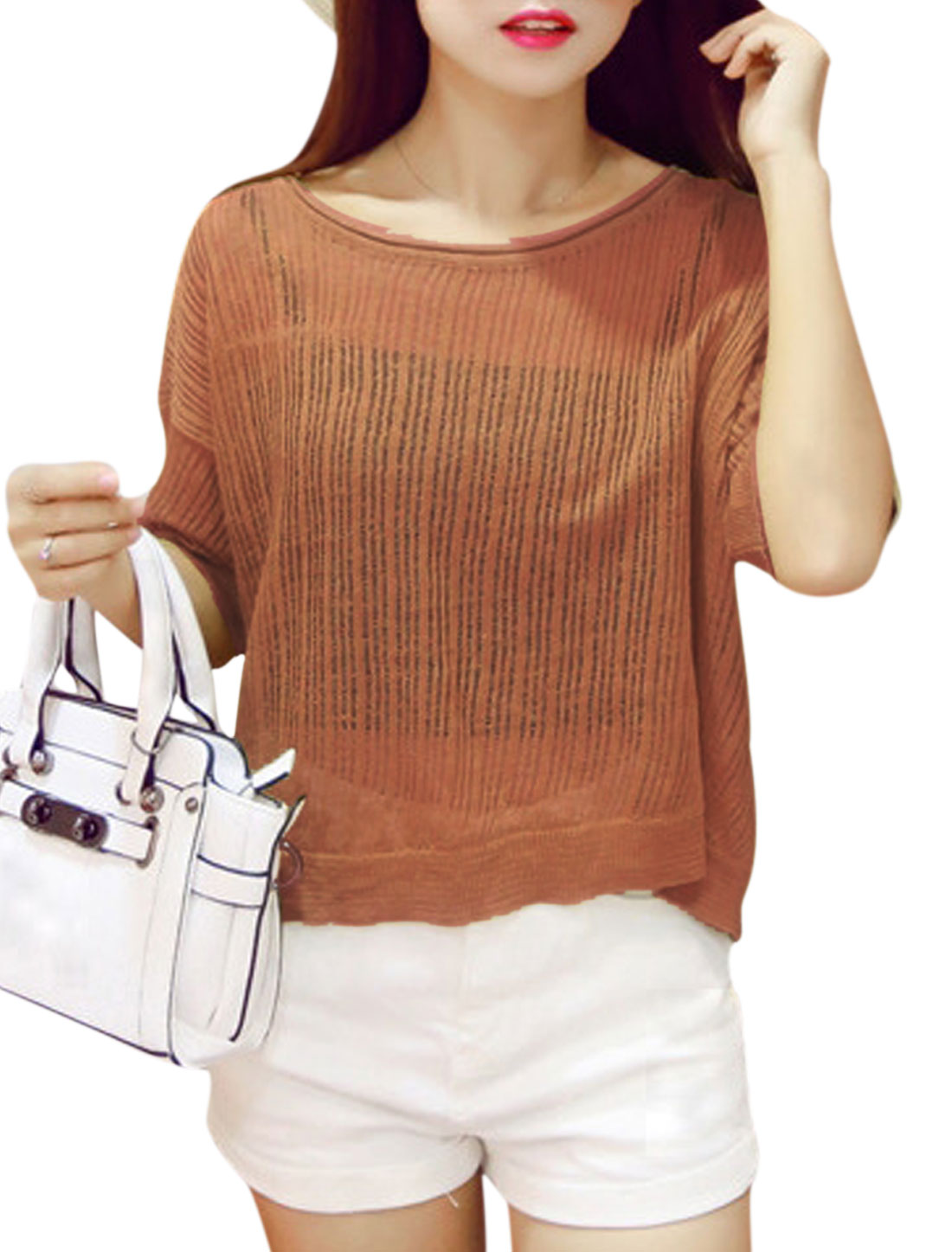 Women Elbow Sleeve Round Neck Loose Fit Casual Knit Blouse Camel XS