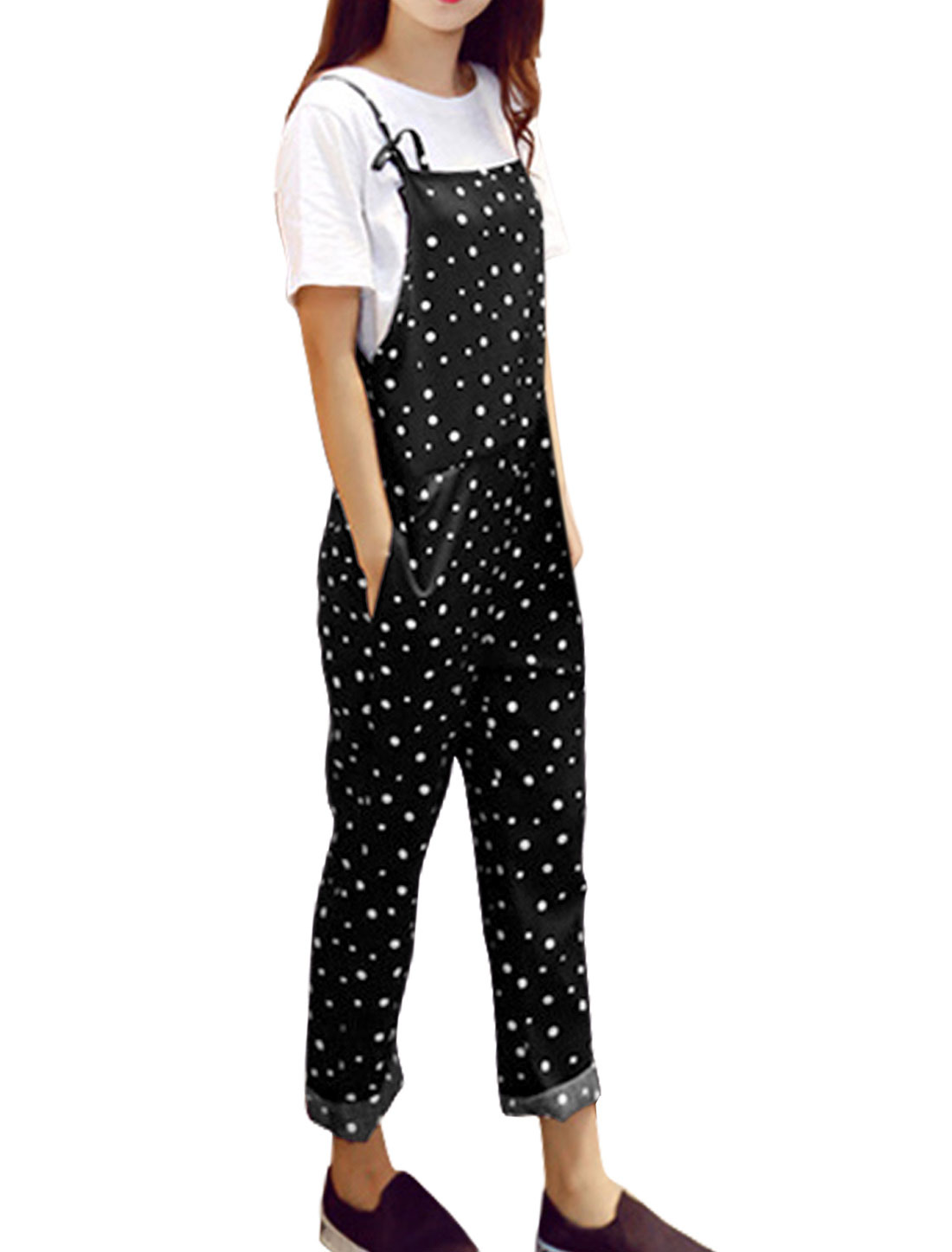 Women Sleeveless Tapered Dots Casual Suspender Pants Black M