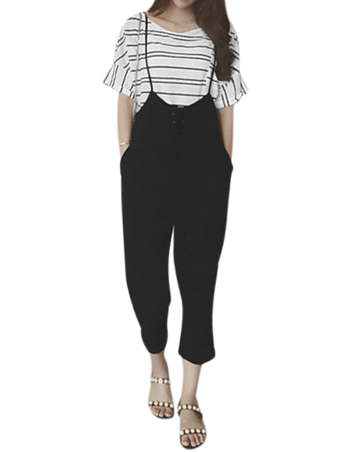 Women Lace Up Front Cropped Harem Cuffed Suspender Pants Black S