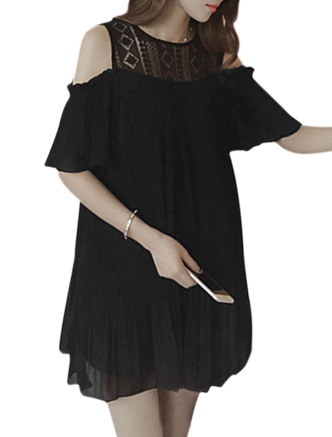 Lady Lace Panel Cold Shoulder Round Neck Chiffon Pleated Dress Black XS