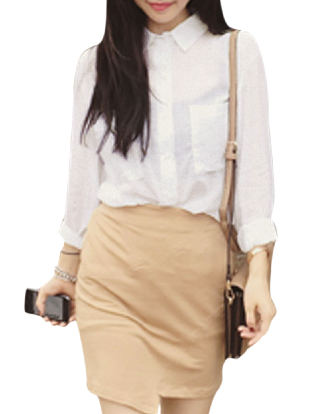Woman Point Collar Long Sleeves Single Breasted Casual Linen Shirt White XS