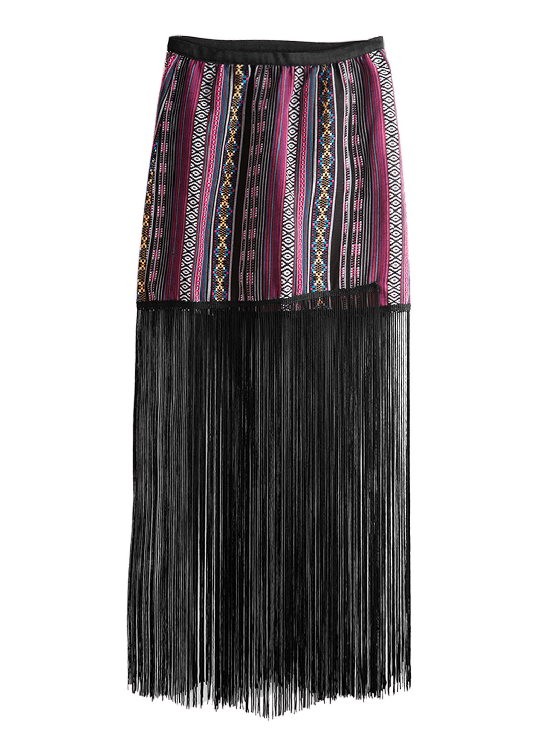 Women Stripes Geometric Embroidery Tassel Hem Mini Skirt Red XS