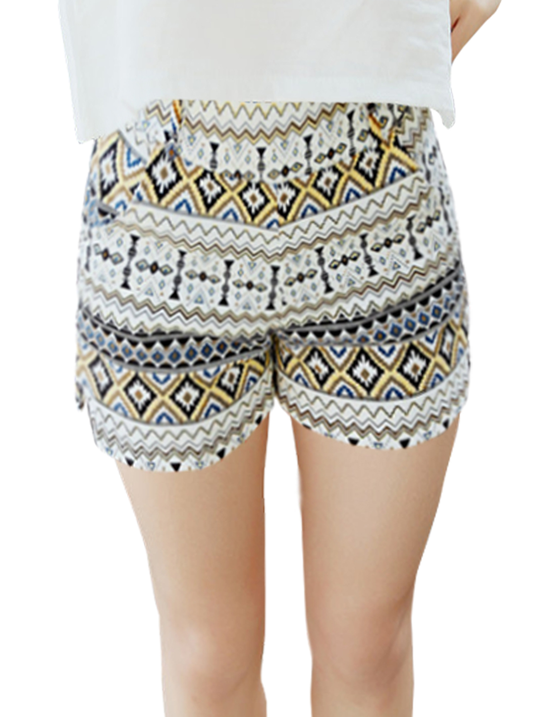 Woman Geometrical Prints Split Sides Beach Boho Style Shorts Yellow XS