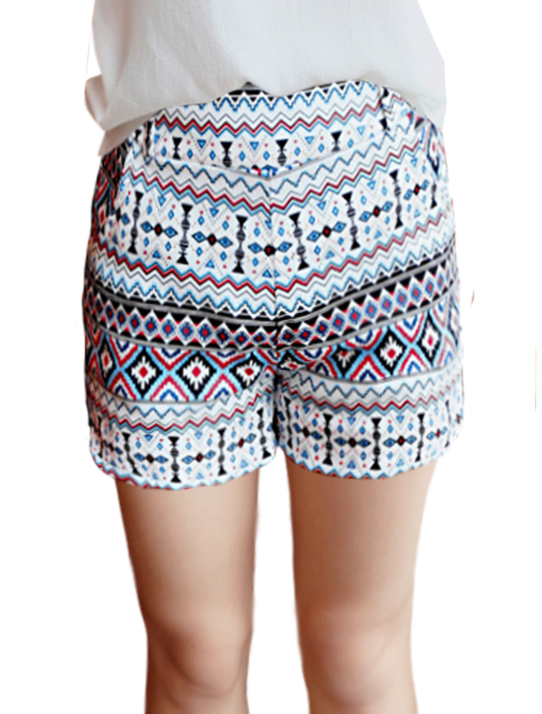 Woman Geometrical Prints Split Sides Beach Casual Shorts Red XS