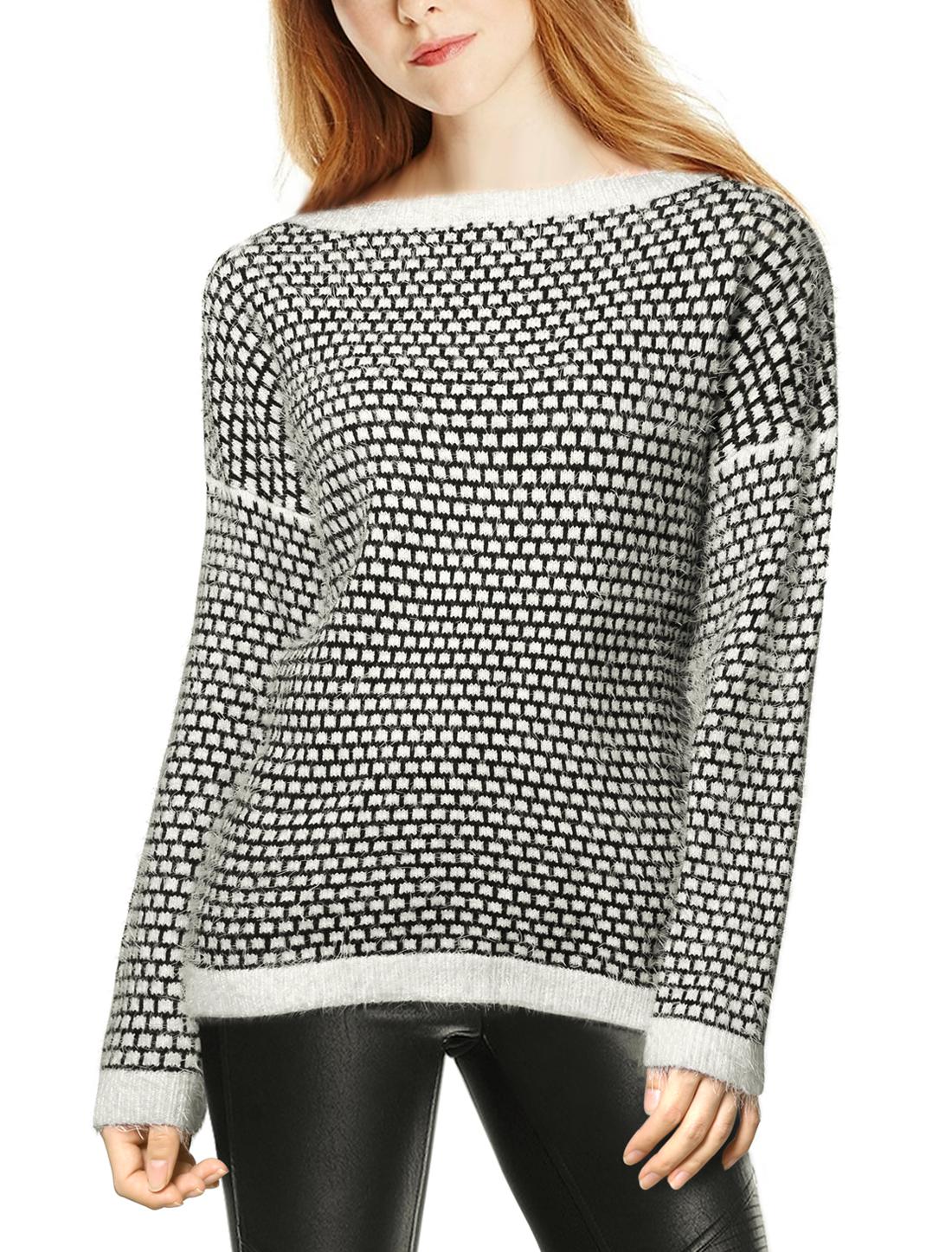 Women Long Sleeve Boat Neck Plaids Loose Fit Knitwear Sweater Black L