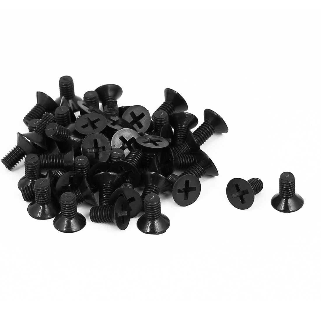 M4x8mm 0.7mm Pitch Nylon Phillips Countersunk Head Screws Bolt Black 50Pcs