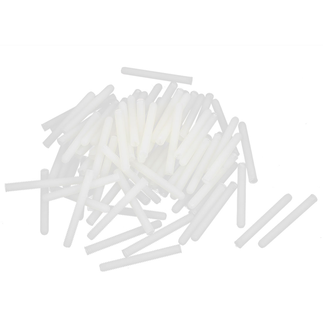 M4x35mm 0.75mm Pitch Nylon Slotted Grub Set Screw Threaded Rod Stud Beige 100Pcs