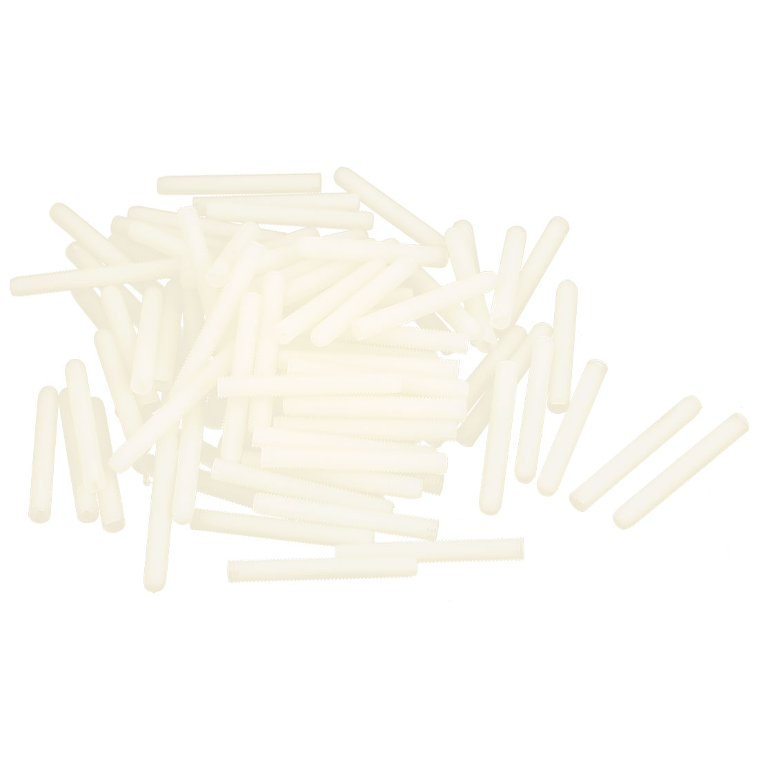 M5x40mm 0.8mm Pitch Nylon Slotted Grub Set Screw Threaded Rod Stud Beige 100Pcs