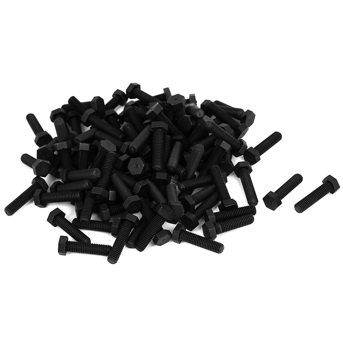 M5x20mm Full Thread Nylon Metric Hex Hexagon Head Cap Screw Bolt Black 100Pcs