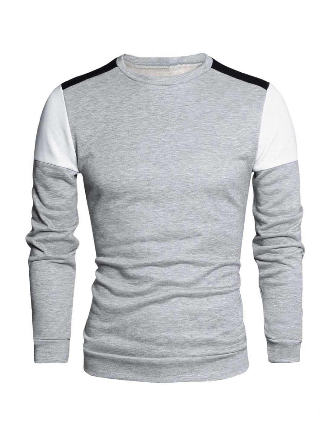 Men Color Block Crew Neck Long Sleeves Panel Design T-Shirt Light Gray S