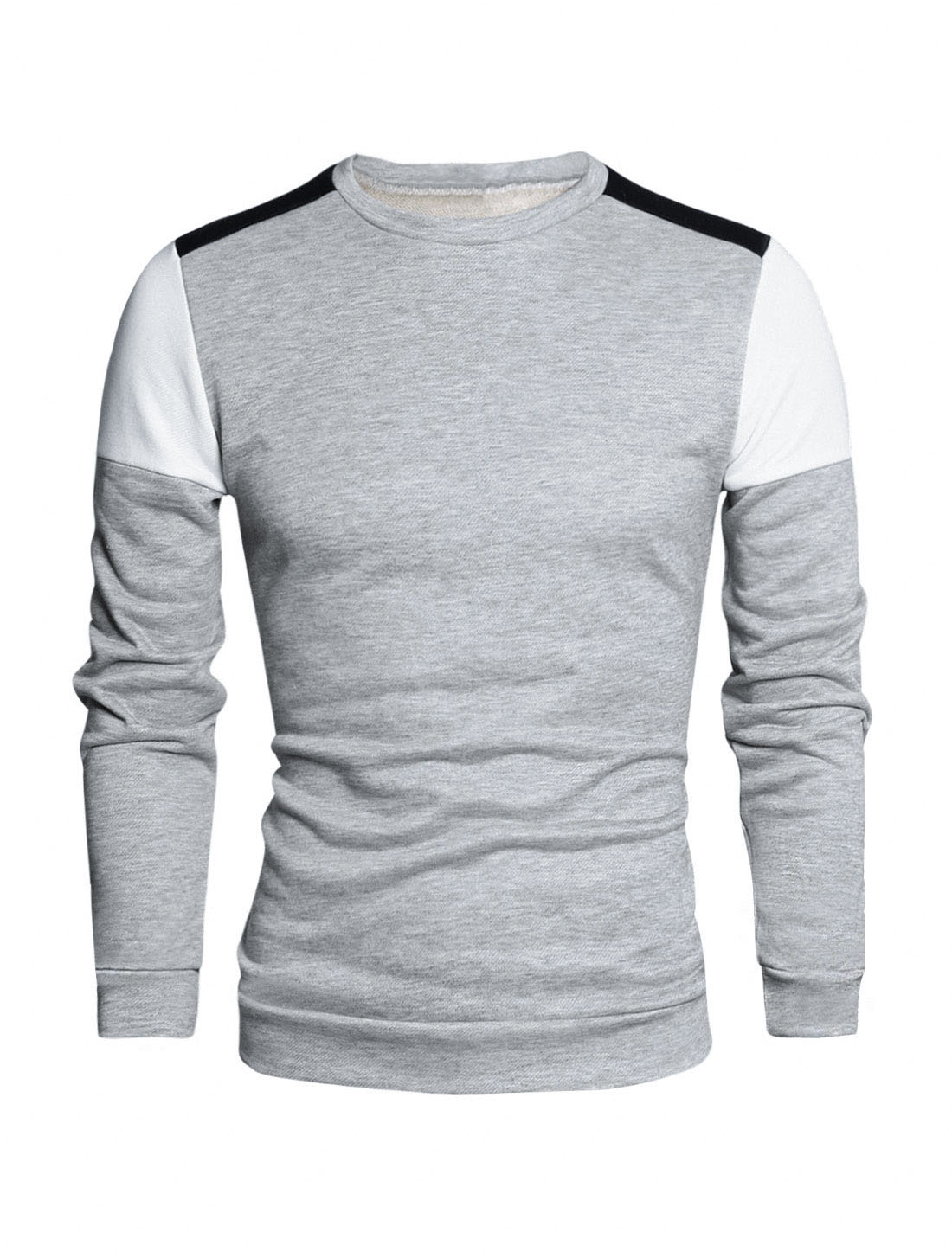 Men Color Block Crew Neck Long Sleeves Regular Fit T-shirt Light Gray M