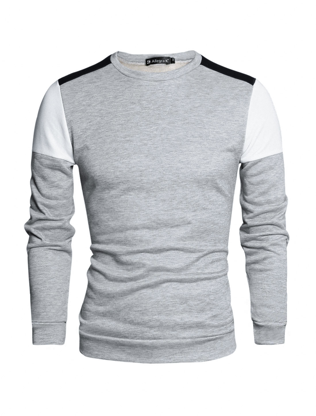 Men Color Block Long Sleeves Panel Design T-shirt Light Gray L