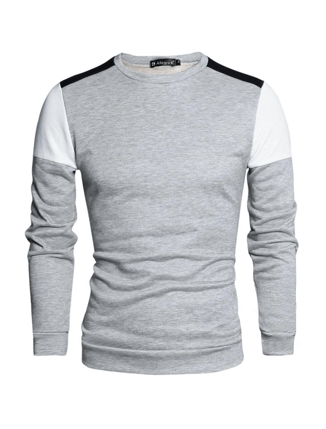 Men Color Block Crew Neck Long Sleeves Panel T-shirt Light Gray L