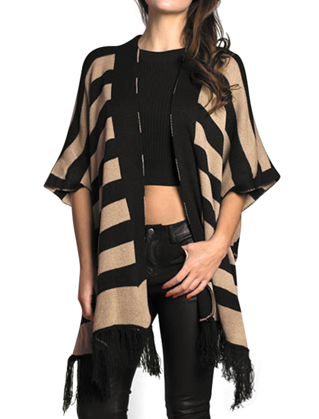 Allegra K Woman Horizontal Stripes Fringed Sweater Poncho Cardigan Black L