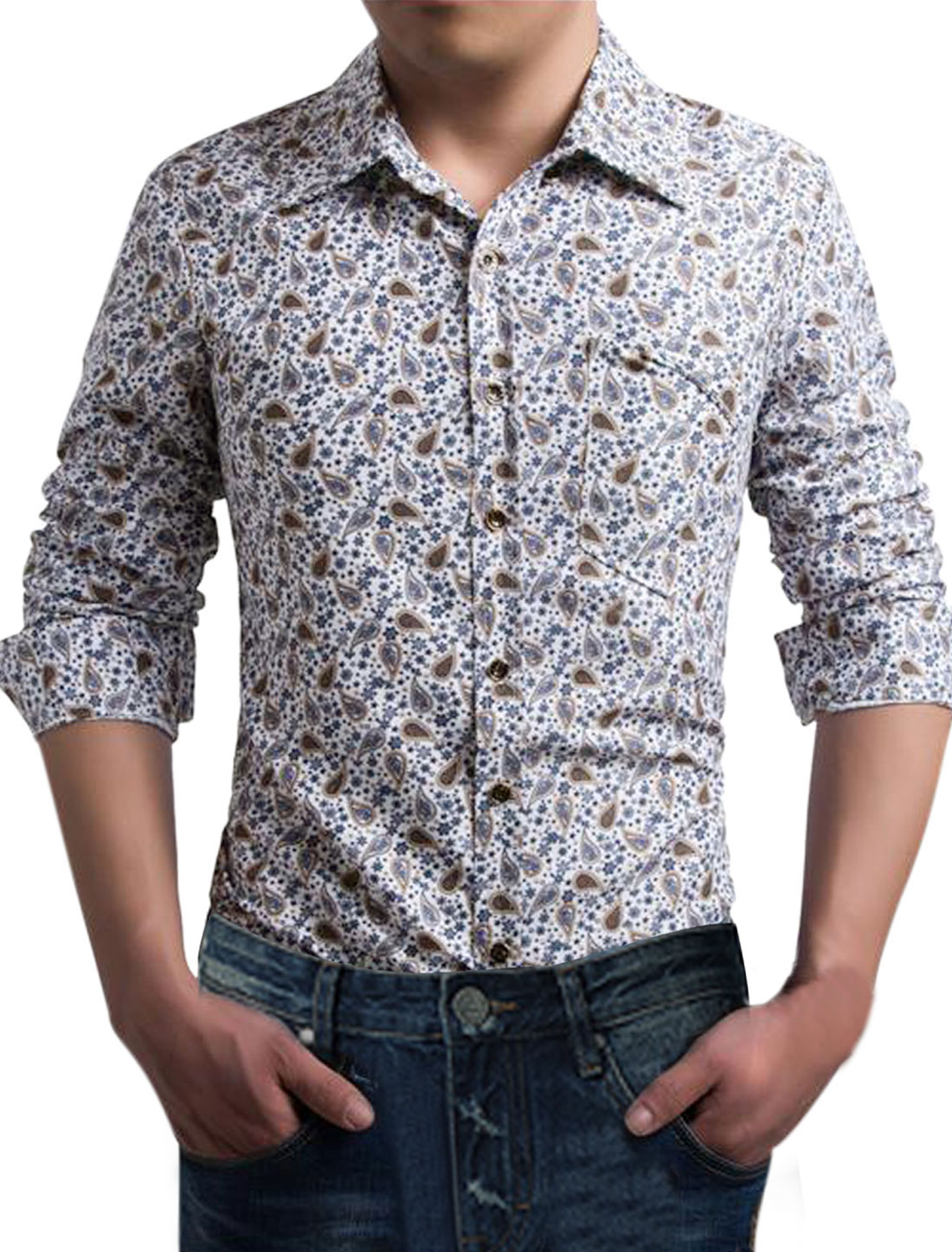 Men Point Collar Long Sleeves Paisley Shirts Blue White S