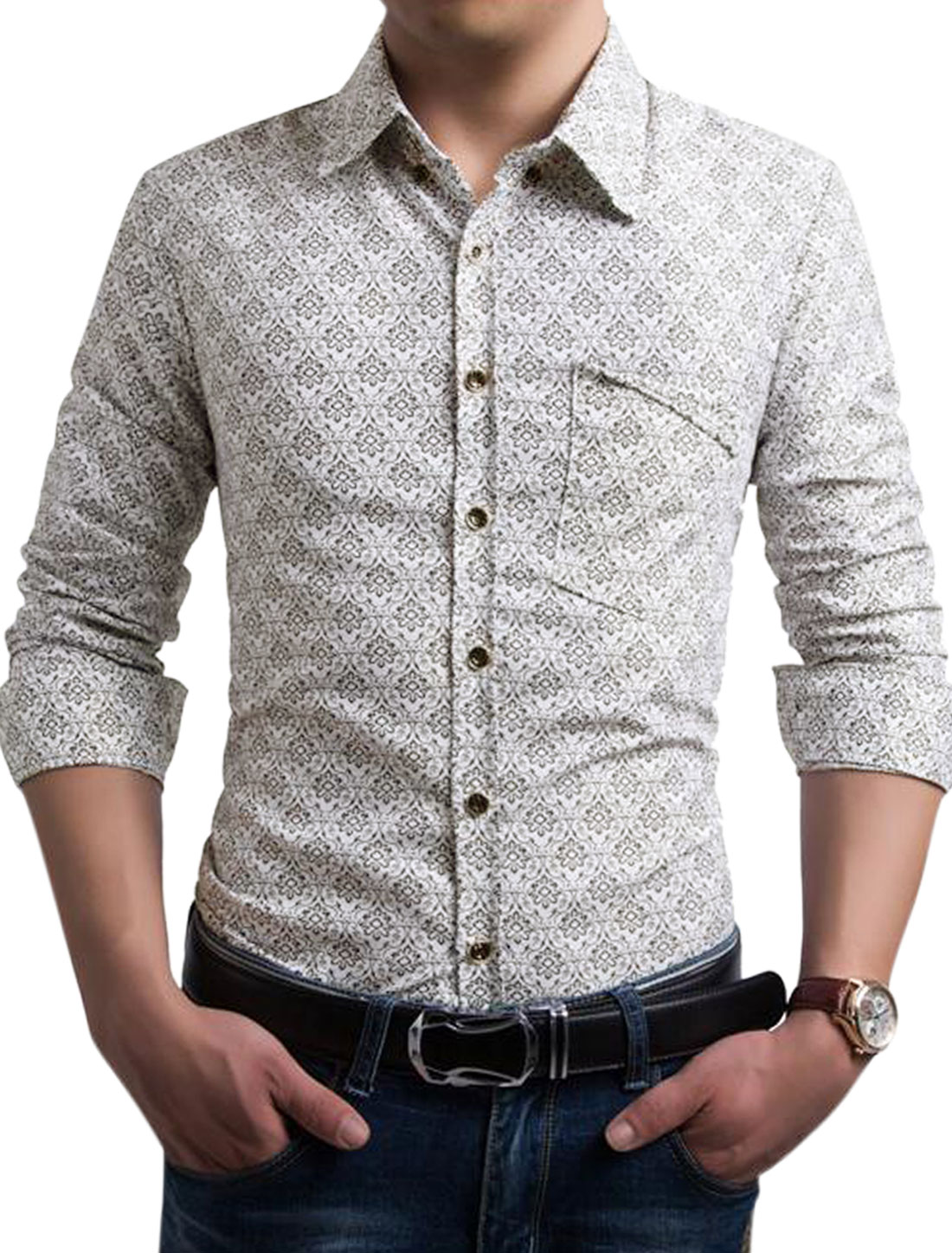 Men Point Collar Single Breasted Flower Prints Top White S