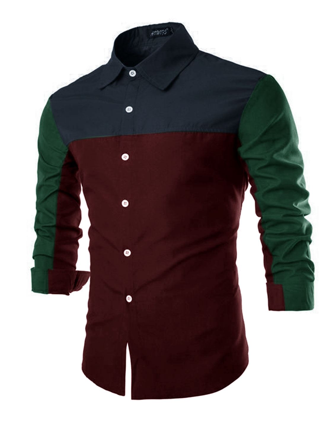 Men Button Cuffs Colour Contrast Casual Shirt Burgundys S