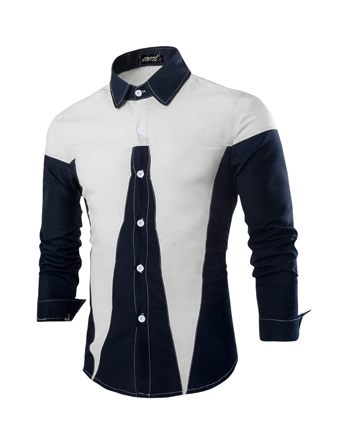 Men Point Collar Button Down Casual Shirt Whites S