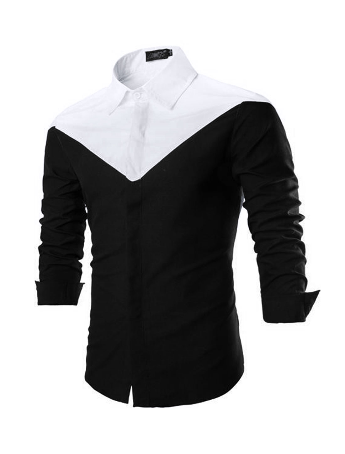 Men Turn-Down Collar Slim Fit Casual Shirts Black White S