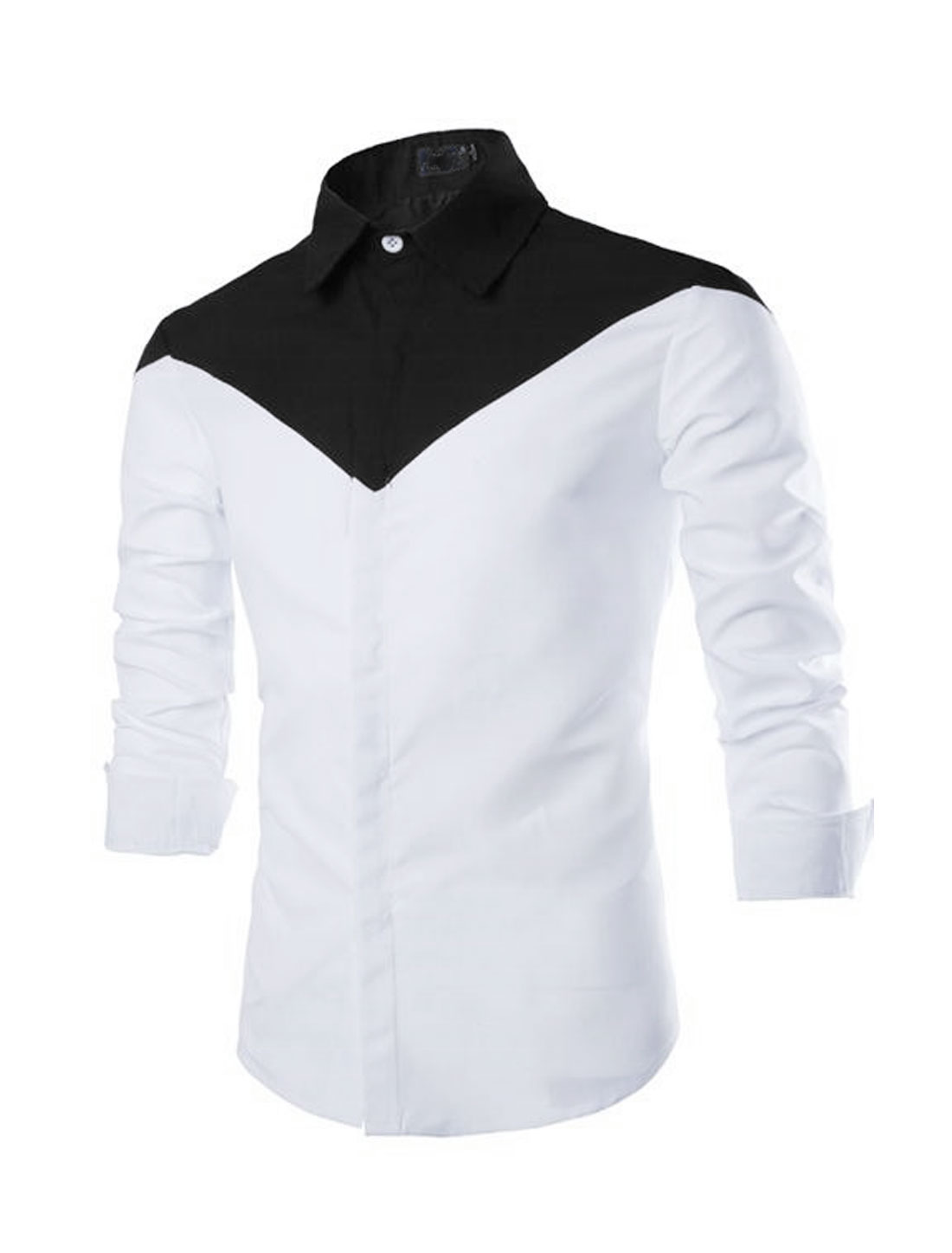 Men Button-up fitted Long Length Shirts White Blacks S
