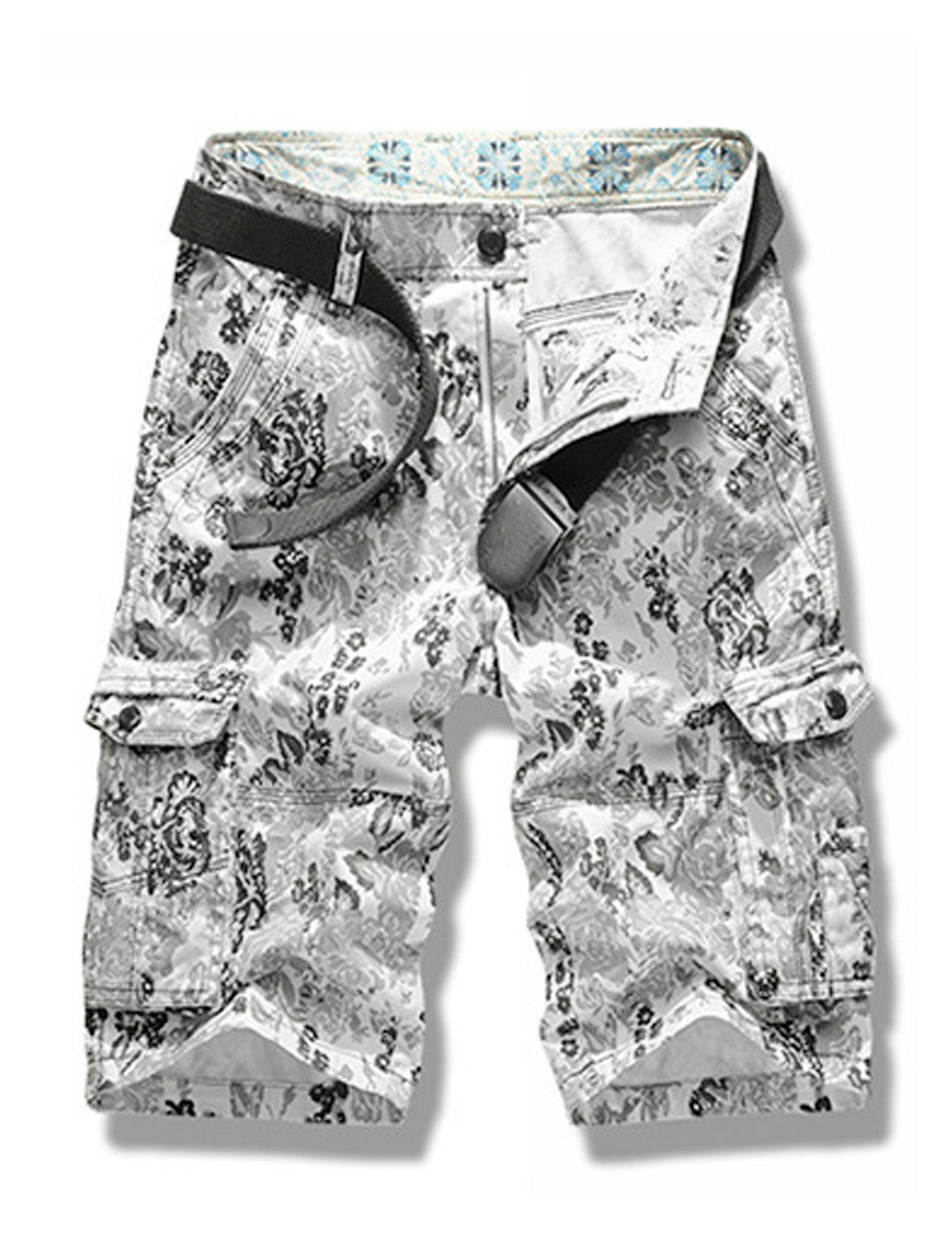 Men Floral Prints Fuctional Pockets Mid Rise Casual Cargo Shorts Gray W32