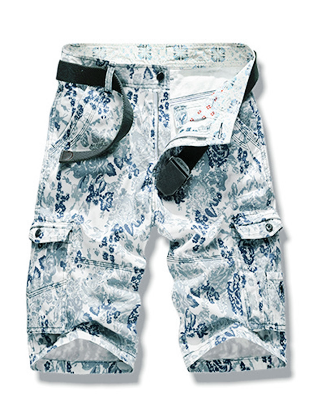 Men Floral Prints Fuctional Pockets Zip Fly Casual Cargo Shorts Blue W32